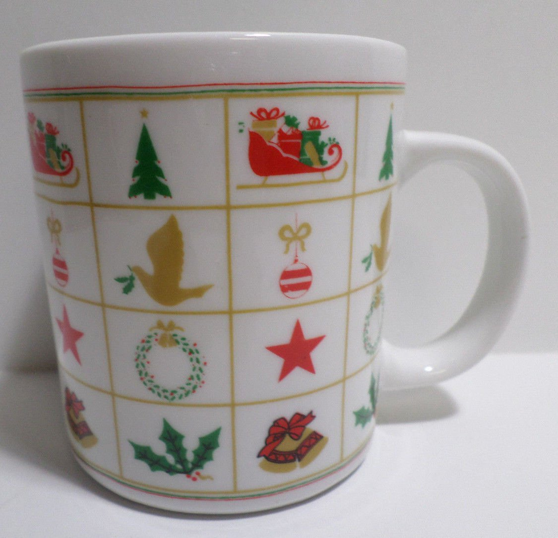 Christmas Collector Coffee Mug Cup Santa Claus Sleigh by Finest Ceramics