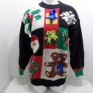 Christmas Sweater Womens size Medium long sleeves Santa Claus snowflake