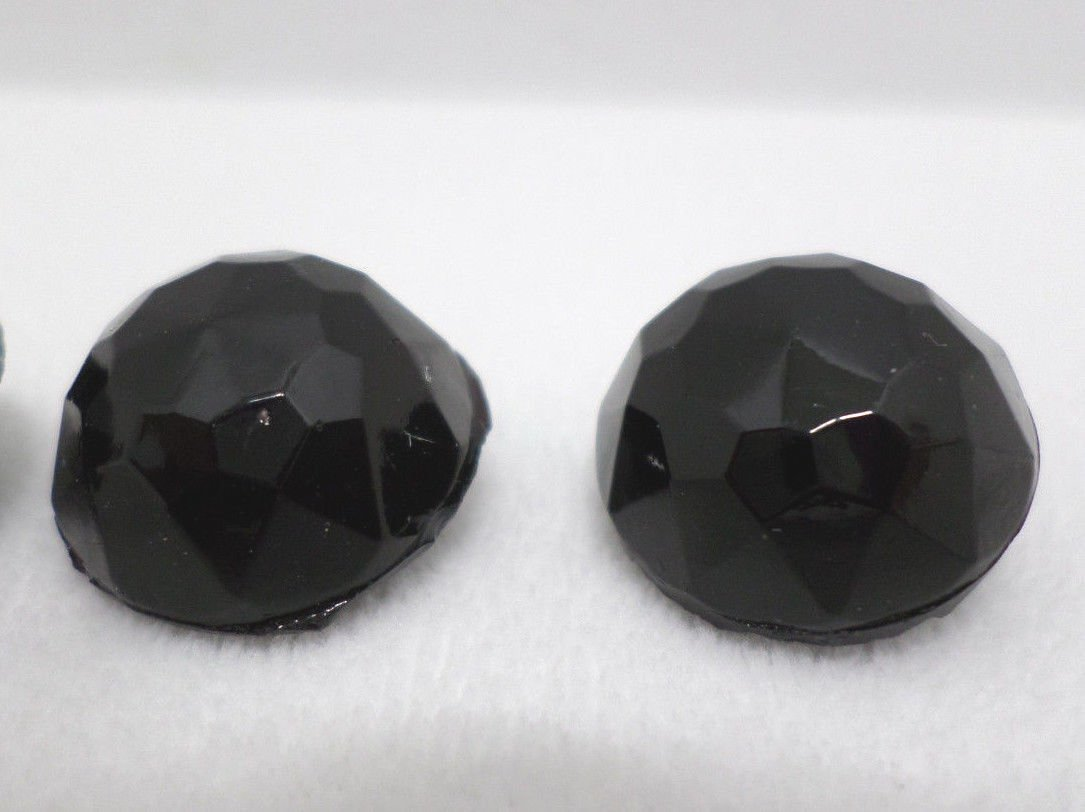 Sewing Buttons Black Glass Round Faceted 5 pcs