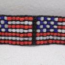 Head Band United States Flag Hand Beaded Head Jewelry