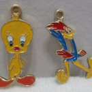 Charms Tweety Bird and Road Runner Gold Tone Metal with Enamel Warner Bros