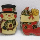 Vintage Sewing Button Covers Metal Christmas Snowman and Stocking