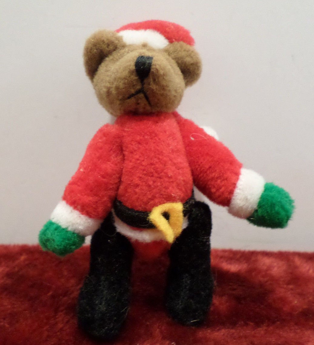 Christmas Teddy Bear with Jointed Arms and Legs Miniature