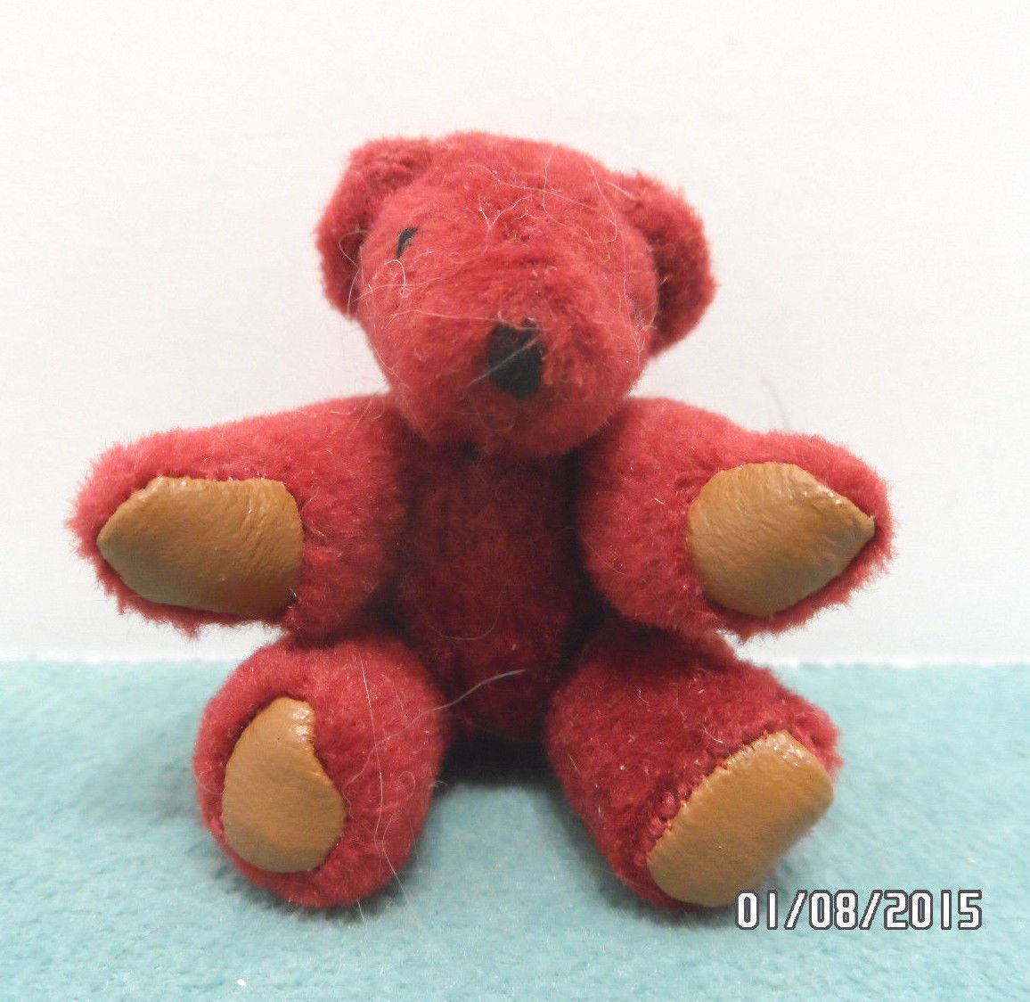 Vintage Teddy Bear Miniature Plum Color with Brown Vinyl Pads Fully Jointed