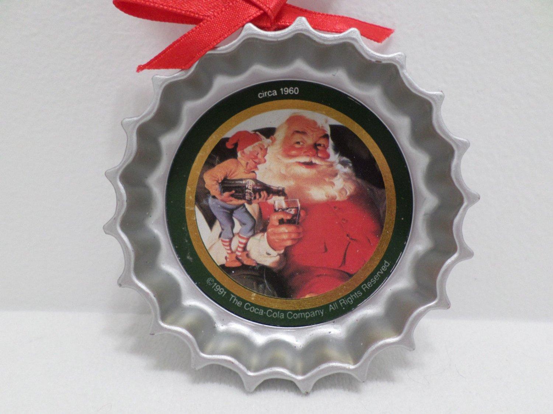 1991 Christmas Tree Ornament Metal Coca Cola 1960 Santa Claus