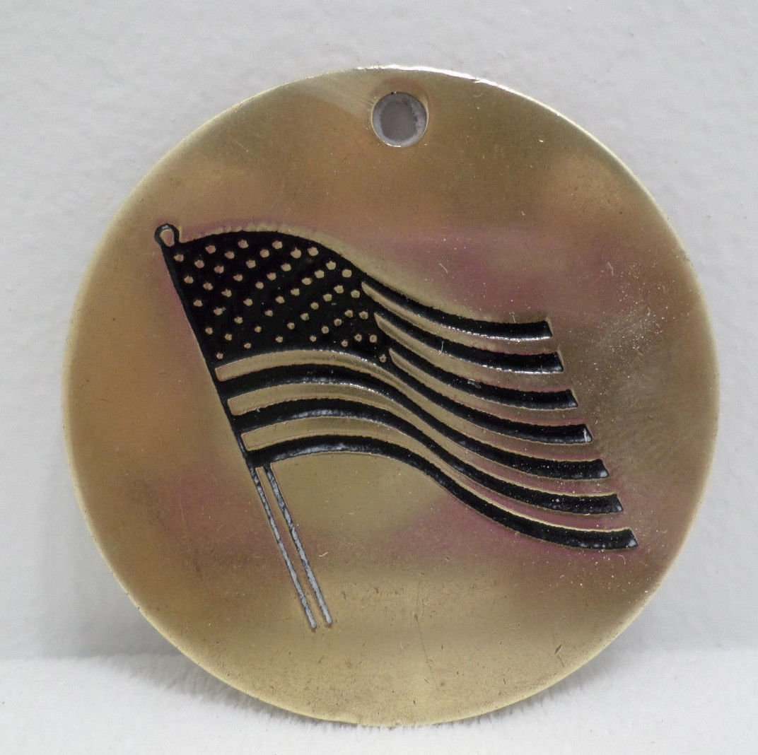 Russ Key Fob Round Brass with U.S. Flag Made in Taiwan