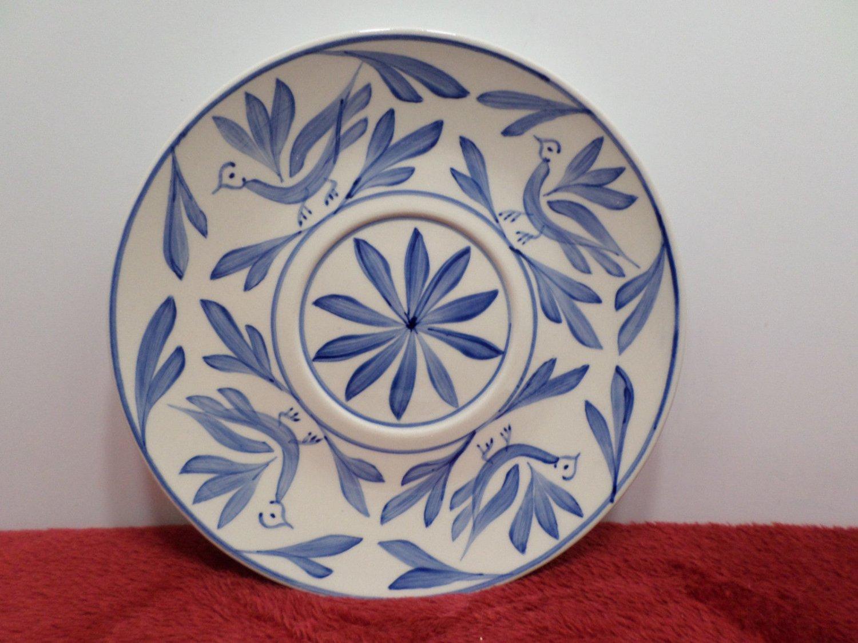 Saucer Evandale Stoneware Hand Painted Blue Bird Design
