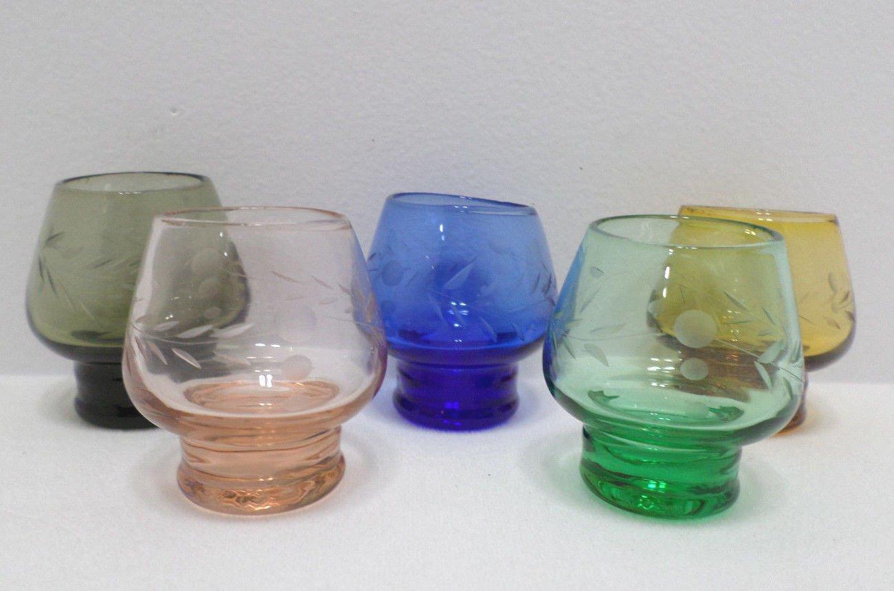 Shot Glasses Crystal with Etched Design Cobalt Blue Green Pink Brown Vintage