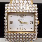 Geneva Ladies Wristwatch Gold Tone Metal with Rhinestones Cuff Band