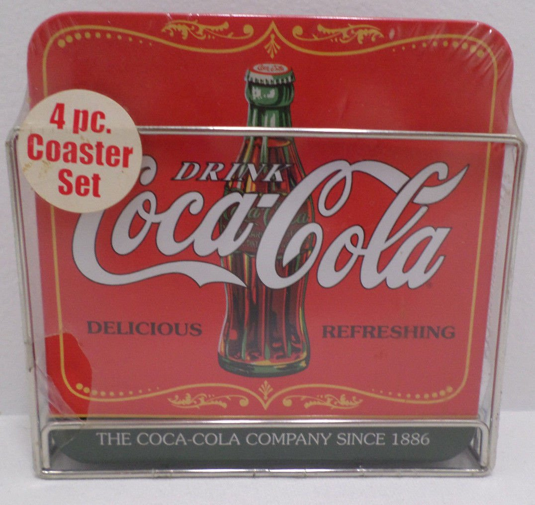 Coca Cola Table Coasters Metal and Cork 4 Pieces New in Package
