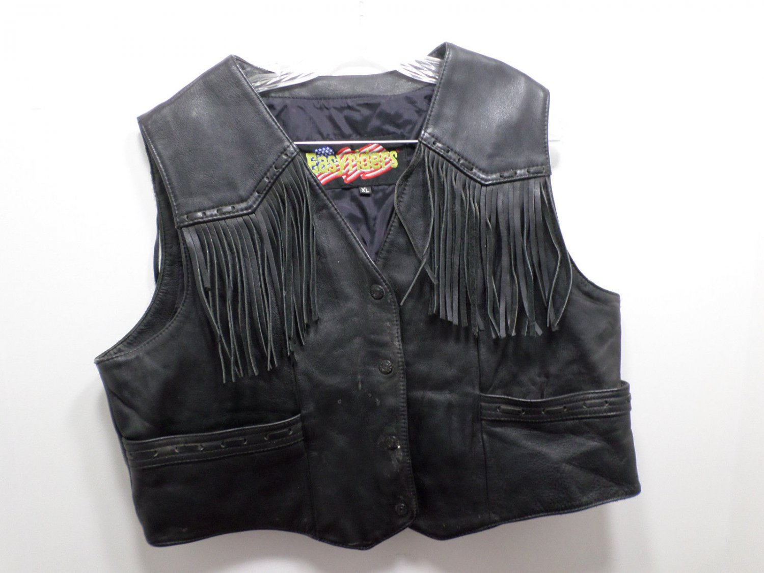 Women's Black Leather Vest Fringe in Front and Back by Easy Rider Size XL