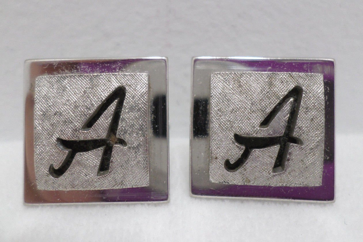 Swank Cufflinks Silver Tone Metal with the Letter A