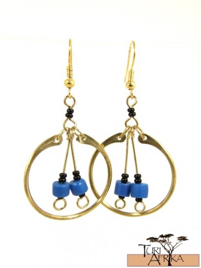 Product ID: 2     Brass Loop Earrings W/ Blue Beads