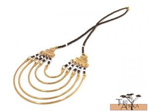Product ID: 7     Brass Necklace W Black and White Beads