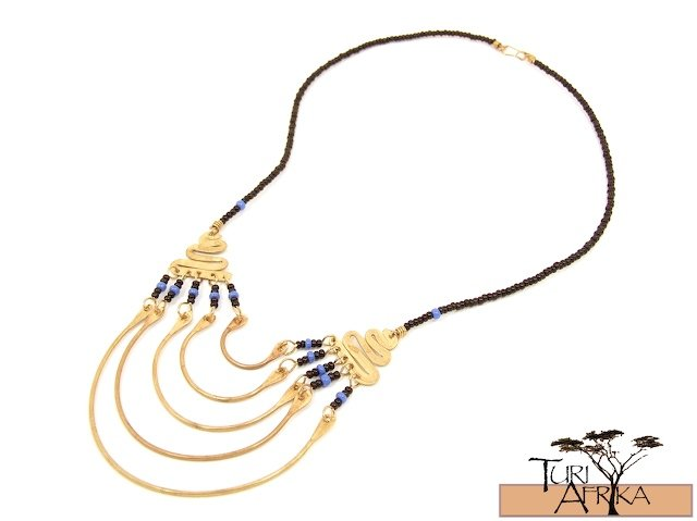 Product ID: 10     Brass Necklace W/ Blue & Black Beads