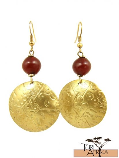 Product ID: 13     Brass Disk Earrings W/ Red Kenyan Amber