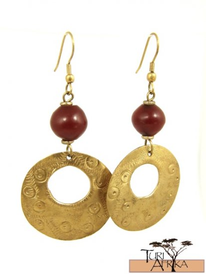 Product ID: 14     Brass Disk W/ Hole Earrings W/ Red Kenyan  Amber
