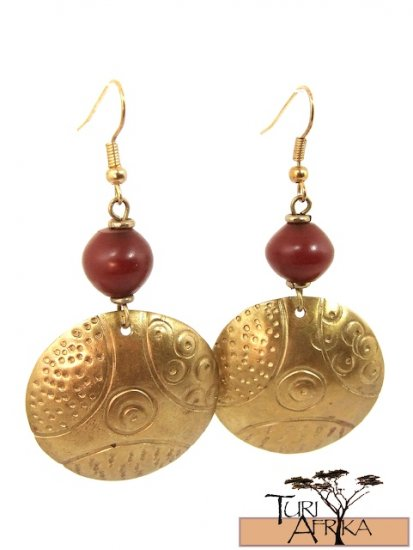 Product ID: 15     Brass Disk Earrings W/ Red Kenyan Amber