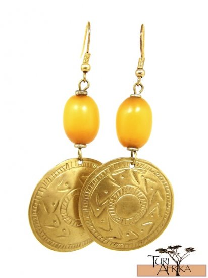 Product ID: 18     Brass Disk Earrings W/ Yellow Kenyan Amber