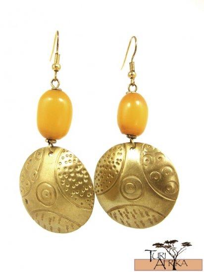 Product ID: 19     Brass Disk Earrings W/ Yellow Kenyan Amber