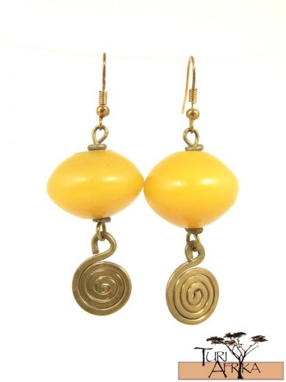 Product ID: 21     Brass Spiral Earrings W/ Yellow Kenyan  Amber