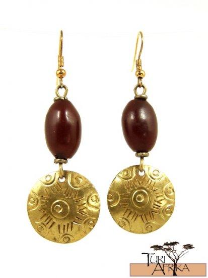 Product ID: 24     Brass Disk Earrings W/ Red Kenyan  Amber