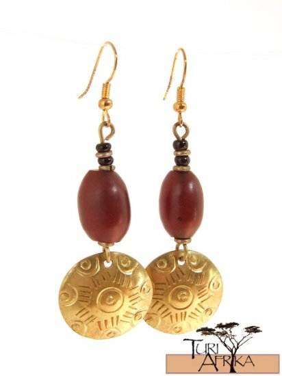 Product ID: 28     Brass Disk Earrings W/ Red Kenyan Amber