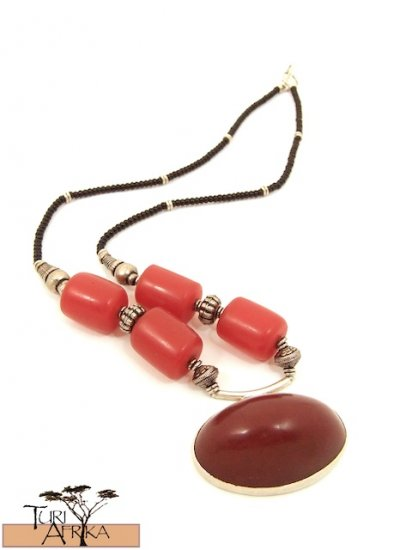 Product ID: 29     Large Red Kenyan Amber and Silver Necklace