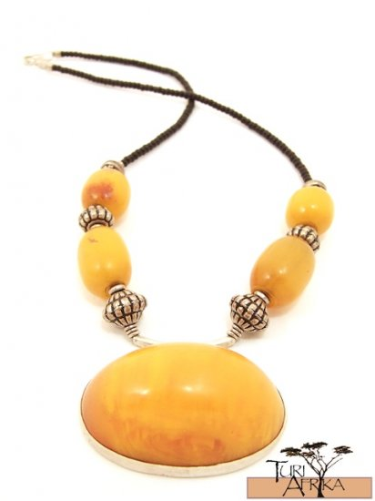 Product ID: 30     Large Yellow Kenyan Amber and Silver Necklace