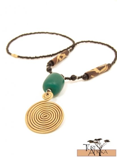 Product ID: 40     Large Brass Swirl Necklace  with Green Kenyan Amber and Painted Wood Beads