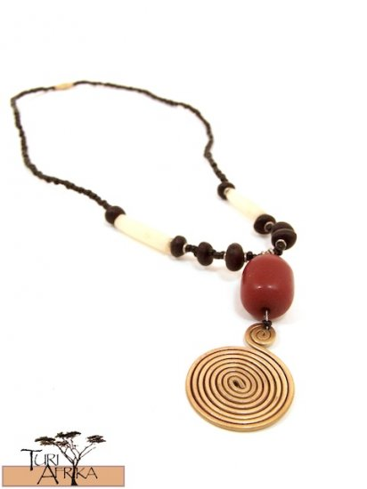 Product ID: 42     Large Brass Swirl Necklace  with Red Kenyan  Amber, Seeds and White Bone