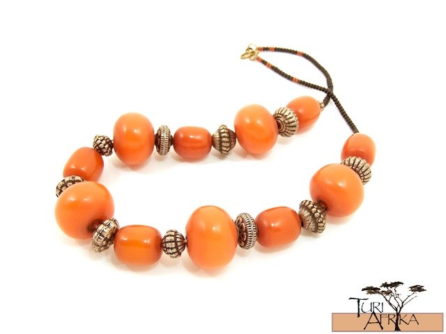Product ID: 48  Medium and Large Orange Kenyan Amber Necklace , Metal w/ Black and Rust Beads