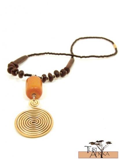 Product ID: 49     Large Brass Swirl Necklace , Orange/Brown Kenyan Amber, W, Seeds & Brown Bone
