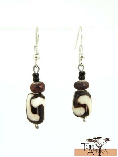 Product ID: 51     Small painted Bone Earrings , Seed, and Black bead