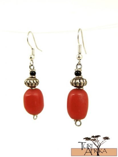 Product ID: 52     Small Red Oval Kenyan  Amber Earrings , Metal, and Black Bead