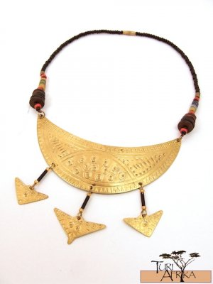 Product ID: 56     Brass Choker, Trade Beads, Quils, Small Bras Hanging