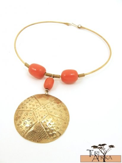 Product ID: 57     Brass Choker, Orange Kenyan  Amber, Large Brass Disk
