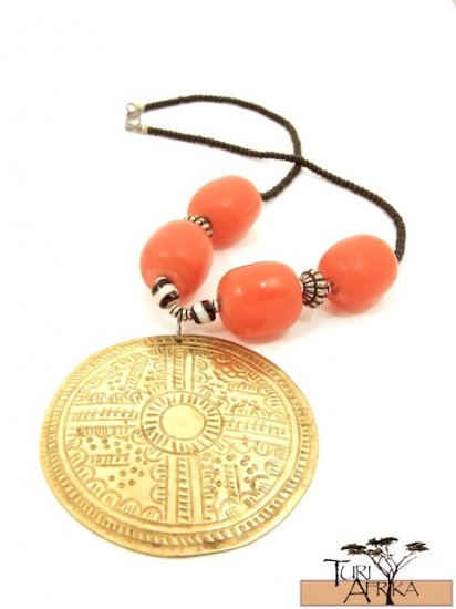 Product ID: 60 Large Brass Disk Necklace , Large Orange Kenyan Amber, Black, White & Metal Beads