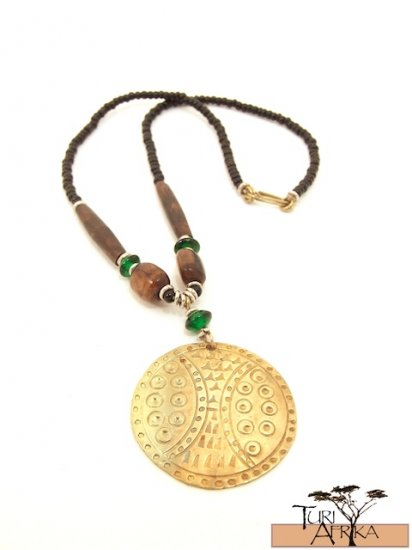 Product ID: 69     Medium Brass Disk Necklace , Brown Bone, Green Glass, and Black Beads