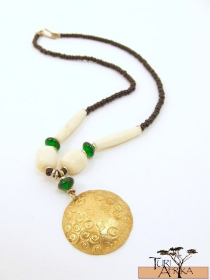 Product ID: 70     Small Brass Disk Necklace , White Bone, Green Glass, And Black Beads