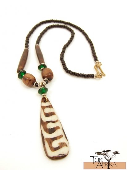 Product ID: 72     Painted Bone Necklace , Brown Bone, Green Glass, Black bead