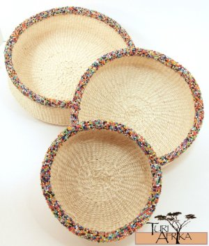Product ID: 88     Natural Color Sisal and Multicolored Beaded Basket Set of 3