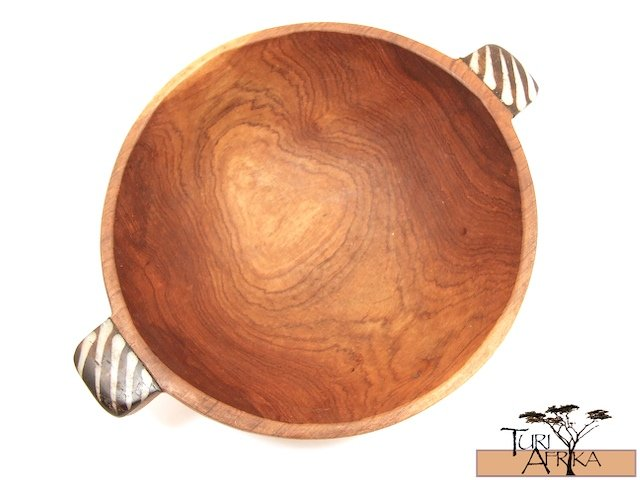 Product ID: 91     Medium Round Olive Wood Bowls W/ Painted Bone handle