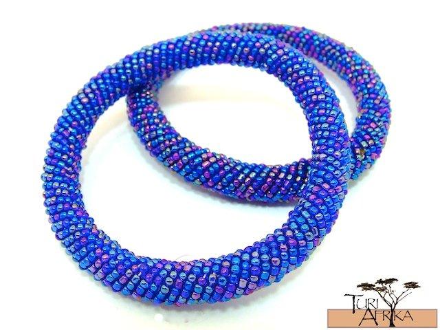 Product ID: 94     Round Beaded Flexible Bracelets (metallic Blue Mixture) SET OF 2
