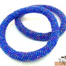 Product ID: 94     Round Beaded Flexible Bracelets (metallic Blue Mixture) SET OF 2