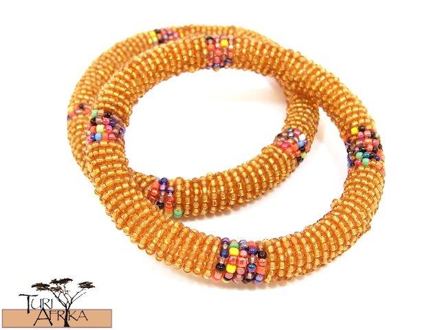 Product ID: 95     Round Beaded Flexible Bracelets (Orange W/ Metallic Multicolor Bands) SET OF 2