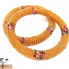 Product ID: 95     Round Beaded Flexible Bracelets (Orange W/ Metallic Multicolor Bands) SET OF 2