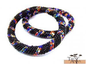 Product ID: 96     Round Beaded Flexible Bracelets (Black W/ Metallic Multicolored Bands) SET OF 2