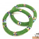 Product ID: 97     Round Beaded Flexible Bracelets (Green Metallic W/ Multicolored Bands) SET OF 2