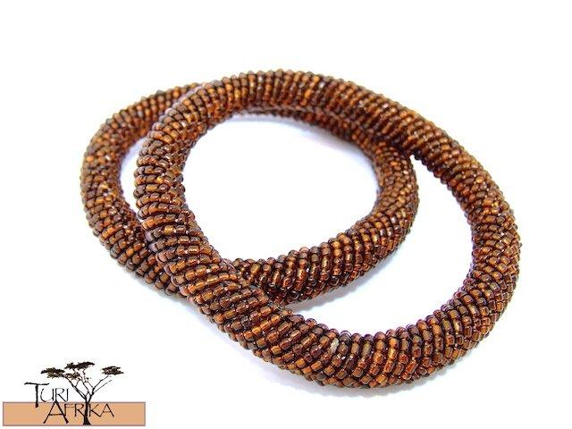 Product ID: 98     Round Beaded Flexible Bracelets (Metallic Brown) SET OF 2